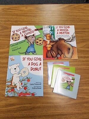 New Lot of 3 If You Give a Mouse a Cookie / Dog Donut / Moose Muffin Plus CDs