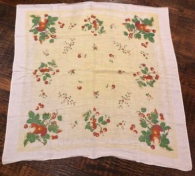 """Vintage Cherry Tablecloth Cherries Square 49"""" Yellow Red Retro Cotton Linen"""