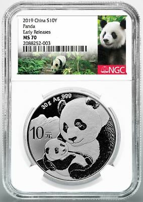 2019 10 Yuan Silver Chinese Panda NGC MS70 Early Releases Panda Label Presale