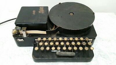Vintage Teletype tape perforator Model 14 (Iron Horse) working