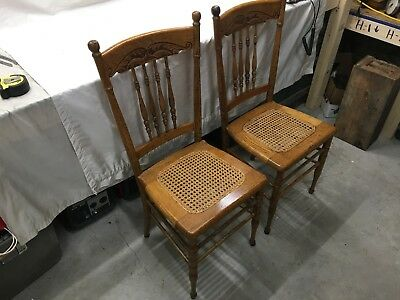 2 Antique Victorian Oak carved back Dining Chair Cane Seat Accent Parlor