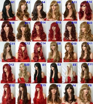 Fashion Women Long Curly Straight Wavy Highlight Black Brown Blonde Plum Red Wig