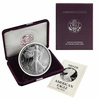 1989-S American Silver Eagle Proof (OGP & Papers)