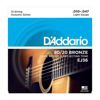 D'Addario EJ36 80/20 Bronze 12-String Acoustic Guitar Strings, Light, 10-47