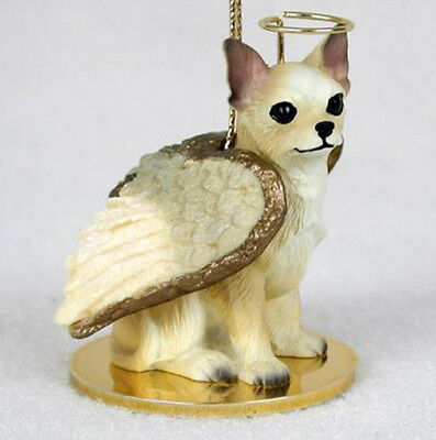 CHIHUAHUA (TAN WHITE) ANGEL DOG CHRISTMAS ORNAMENT HOLIDAY  Figurine Statue