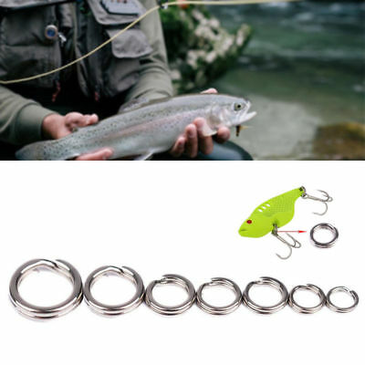 50Pcs/set Fishing Solid Stainless Steel Snap Split Ring Lure Tackle Connector