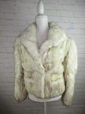 Chill Chasers Vintage Rabbit Fur Jacket Ivory White women's size Large