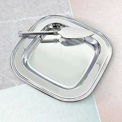 Sheridan CHEESE SERVING TRAY w/ Glass Liner & Server Knife Nickel Plated Polish