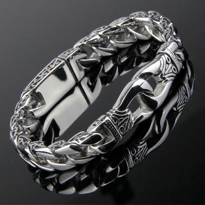 Heavy Chain Curb Link Stainless Steel Huge Men's Silver Bracelet Bangle