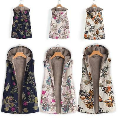 Womens Winter Floral Fleece Sleeveless Vest Waistcoat Hooded Jacket Coat Outwear