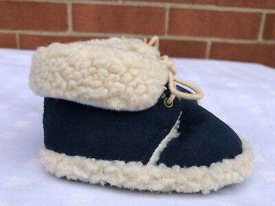 Gold Bug Baby Boy Girl faux  Fur lace up navy Shoes Size S Small faux suede