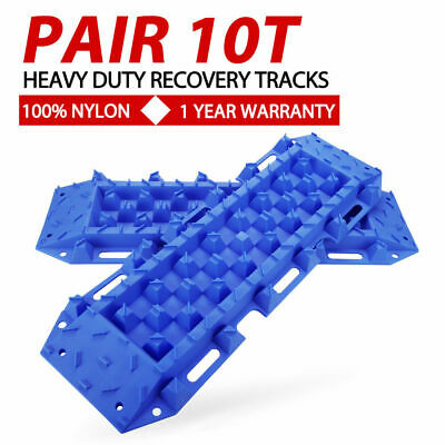 Pair Blue 4x4 Recovery Tracks Off Road 4WD Sand Snow Mud 10 Tons Tyre Ladder