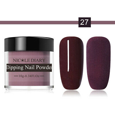 NICOLE DIARY Dipping Glitter Powder Natural Dry Acrylic Pigment Plum Color Dust