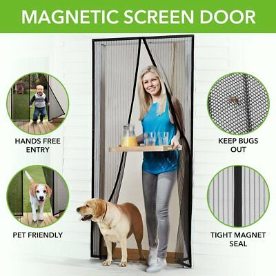 Homitt Magnetic Screen Door with Heavy Duty Mesh Curtain and Full Frame Hook&Loo