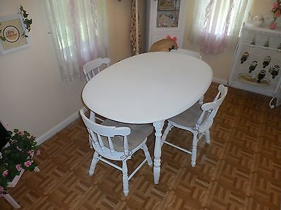 White Shabby Chic French Country Cottage Wood 5pc Dining Room Table & 4 Chairs