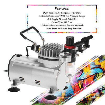 KKmoon Professional 3 Airbrush Compressor Dual-Action Spray Painting Air Brush