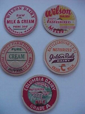 5 WASHINGTON  Different  Flat Milk Caps  Never Been Used