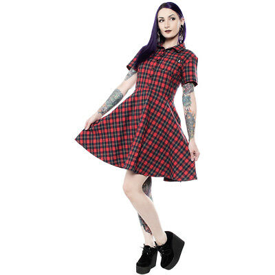 571558df758 WOMEN S SOURPUSS PLAID Button Down Dress Red Retro Rockabilly Punk ...