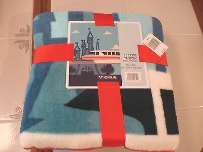 Disney Theme Parks Exclusive Monorail Fleece Throw Authentic Blanket New Nwt