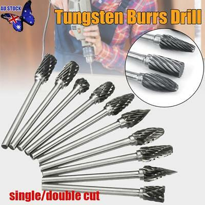 10pcs Carbide Rotary Burr Bur Die Grinder Bit 6mm Head Tungsten Steel 3mm Shank