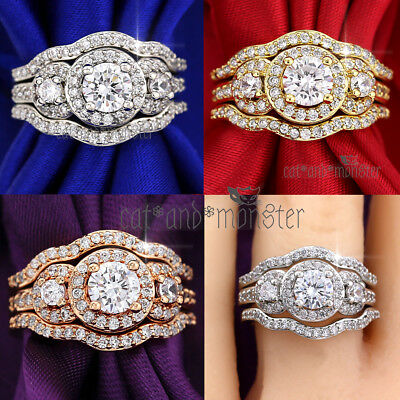 9K Gold Gf Luxury Trilogy Diamonds Lace Band Solid Engagement Wedding Rings Set