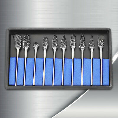 10pcs Tungsten Carbide Steel Rotary Burrs Metalworking Carving Tool Set 2.35*6mm