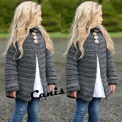 US Toddler Girls Fall Winter Clothes Button Knitted Sweater Cardigan Cloak Coat