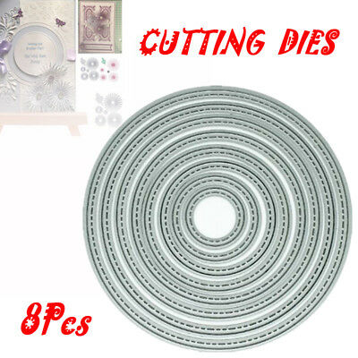 8 piece Stitch Circle nesting die set metal cutting die cutter UK Fast Post NEW