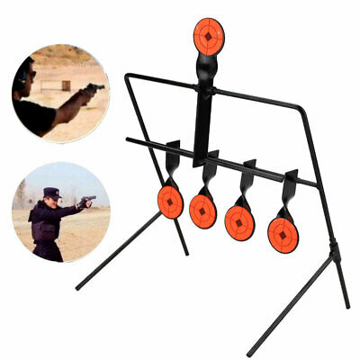 Steel Shooting Targets Spinning Auto Reset Metal Stand Outdoor w/ 5 Target Set