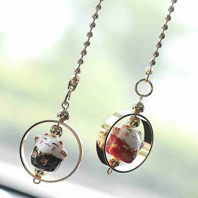 1Pce Ceramic Lucky Cat Hanging Car Pendant Charm Feng Shui Pendant Home Decor F