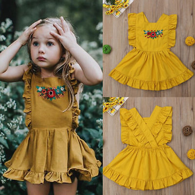 Toddler Kid Baby Girl Clothes Princess Party Prom Sleeveless Tutu Cotton Dress