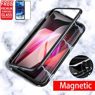 Metal Magnetic Adsorption Case For iPhone X 8 7 Plus Luxury Tempered Glass Cover