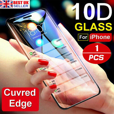 Full Cover Tempered Glass 10D Curved 9H Screen Protector For iPhone 7 8 Plus UK