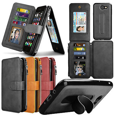 For Samsung Galaxy J7 Sky Pro J7 Prime PU Leather 8 Card Slot Zipper Wallet Case