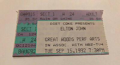 Elton John 1992 Tour Ticket Stub 9/15/1992 Great Woods Mansfield, MA Boston