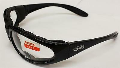 Bi Focal Unbreakable Biker Wrap Motorcycle Rider Clear Glasses + free Pouch