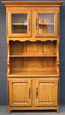 Wesley Barrell Period Style Solid Oak Glass Top Dresser Kitchen Cabinet