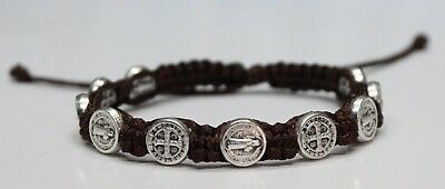 Saint Benedict Silver color medal on Brown Cord Bracelet St. Benedict San Benito