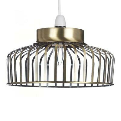 Antique Brass Industrial Cage Lampshade Metal Ceiling Pendant Light Shade 30cm