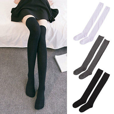 Women Long Sexy Over The Knee Cotton Socks Thigh High Soft Cotton Stockings AU