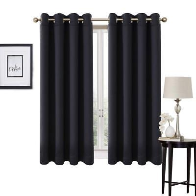 Thermal BLACKOUT CURTAINS Eyelet Ring Top Ready Made Black Brown Grey