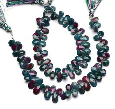 Natural Gem Ruby in Zoisite Faceted 10x7MM Approx Size Pear Shape Beads 9""