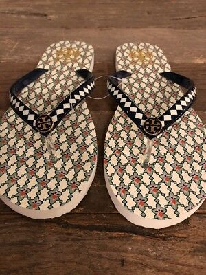 570b6f9ec68445 100 % AUTHENTIC BRAND NEW TORY BURCH THIN FLIP FLOP Black   White RUBBER  SIZE 9 best Christmas gift