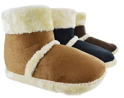 Mens Ankle Fleece Warm Winter Fur Lined Gents Indoor New Slippers Shoes Boots