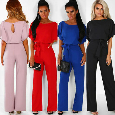 New Style Womens Pure Short Sleeve Jumpsuit Ladies Summer Casual Loose Playsuit