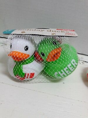 Infantino Go Gaga Christmas Holiday Rubber Duckie Toy Cheer Green white Baby