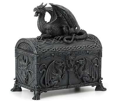 Hinged Dragon Chest Shaped Trinket Box Statue Sculpture Figurine - GIFT BOXED
