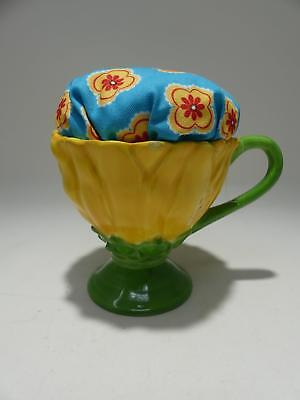 Vintage Yellow Flower Tea Cup Ceramic Pincushion Sewing Repurposed