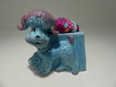 Vintage Poodle Dog Planter Pincushion Sewing 1950 Blue Repurposed