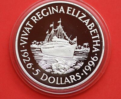 1996 Solomon Islands 70th Birthday Silver Proof $5 Five Dollars Crown Coin
